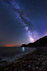 Long time exposure night landscape with Milky Way Galaxy above the lighthouse at Cape Emine, Black sea coast, Bulgaria