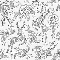 Seamless pattern with running deer flying and floral motif hand drawn