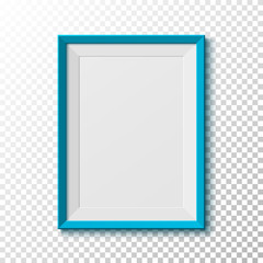 Blue, blank picture frame on transparent background.