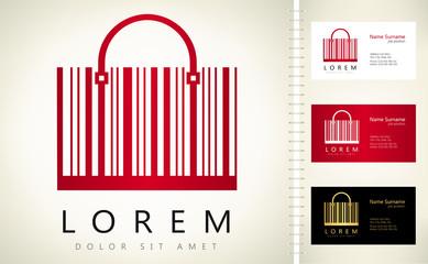 shopping bag made from bar code logo vector