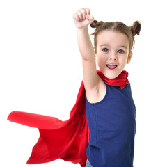 Adorable little girl flying like a superhero in blue t-shirt and