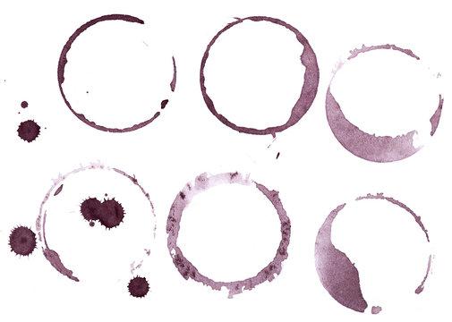 Set of wine glass marks isolated on white background