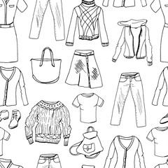 Set of casual woman clothes. Seamless pattern,black and white
