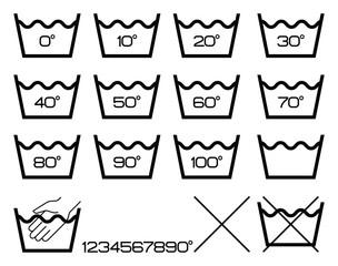 Symbols washing options,black.