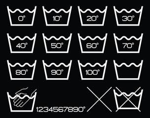 Symbols washing options,white.