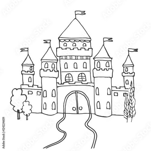 Hand Drawn Cartoon Fairy Tale Castle Icon Vector Illustration