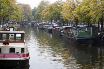 Houseboats in the canals of Amsterdam