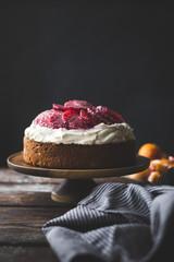 Blood orange & corn flour ricotta cake with whipped mascarpone.