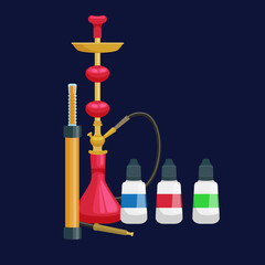Colorful and modern red hookah isolated with bottled liquid vector illustration