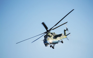 Garden Poster Helicopter Rostov-on-Don, Russia - July 01, 2014: Russian combat helicopter