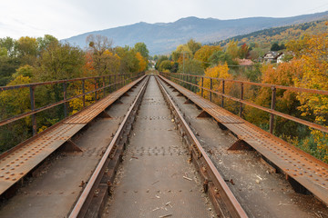old railway. guide lines stretching into the horizon. linear perspective