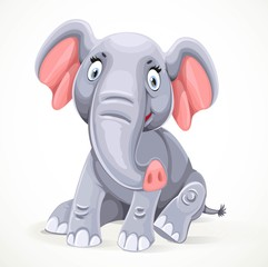 Cute little elephant sitting isolated on white background