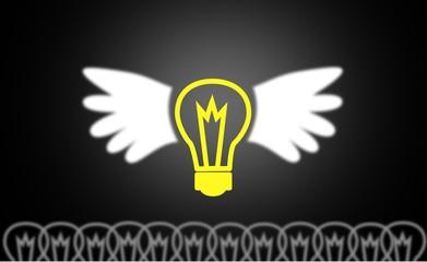 Big Idea yellow  Light Bulb on blackboard with wings