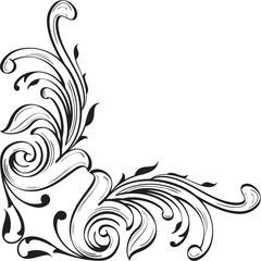 Corner adornment art luxury swirl element