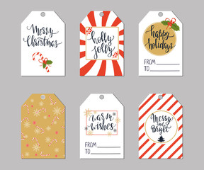 Set of Christmas tags and modern lettering