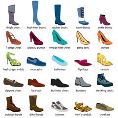 Footwear Names Men S And Women S Footwear Color Footwear Set