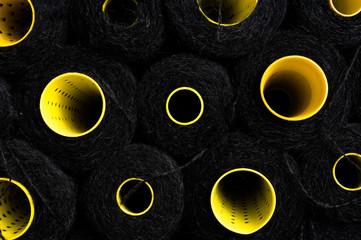 Rows of black wool thread skein