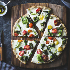 Padron pepper and cherry tomato pizza, gluten-free and whole-gra