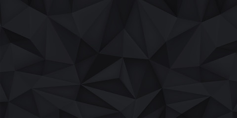 Low polygon shapes, black background, dark crystals, triangles mosaic, creative wallpaper, templates vector design