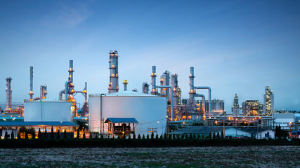 Petrochemical plant (oil refinery) industry with blue sky Wall mural