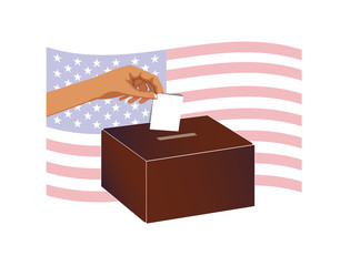 Vector image of a hand placing a vote into a ballot box with an American flag