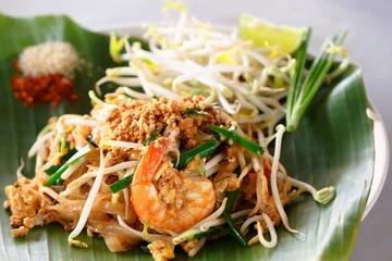 Famous Thai's dish Phad thai. Fried noodle with shrimp