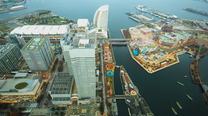 Yokohama, Japan waterfront cityscape