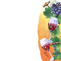Template with bunch of fresh grapes, corkscrews and glasses of red wine. Hand drawn watercolor painting on yellow and orange watercolor background.