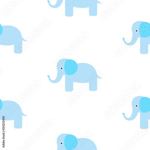 Cute elephant seamless vector pattern. Cartoon elephant wild safari animal on white for kid textile prints and apparel.