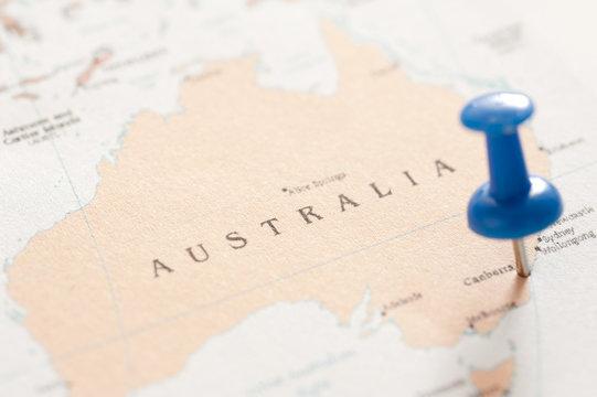 Close up Blue Pin on Australian Map