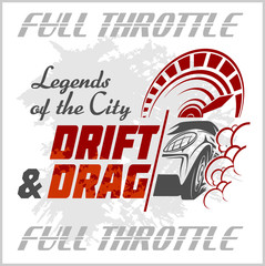 Drifting Car - vector emblem for racing club. Drift and Drag.