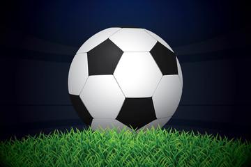 Football / Soccer Ball On Grass On Stadium. Vector Illustration.