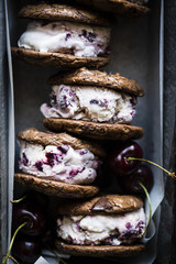 Roasted cherry ice cream sandwiches with salted double chocolate