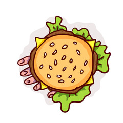 Dead man hand in cheeseburger. Halloween vector fast food clip-art, isolated on white. Hand drawn cartoon sketchy icon, design element for halloween party invitation card, sticker, greeting card