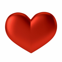 Red Heart Shape on White Background