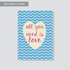 all you need is love wall poster vector giftcard cevron