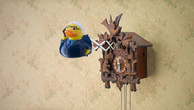 Salesman Rubber Duck coming out of cuckoo clock