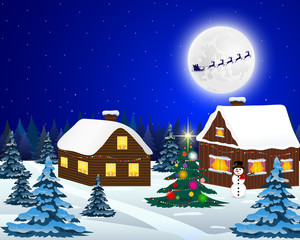 Night christmas forest landscape. Santa Claus