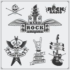 Rock'n'Roll music symbols, labels, logos and design elements.