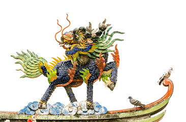 Colorful Chinese dragon-headed unicorn, colorful kilen, kylin, kirin.