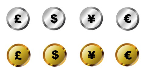 computer buttons displaying currency in silver and gold