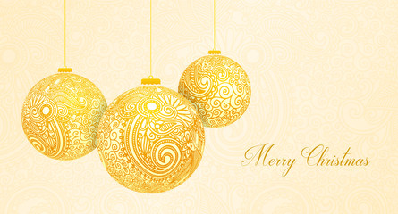 Merry Christmas card with Christmas golden balls