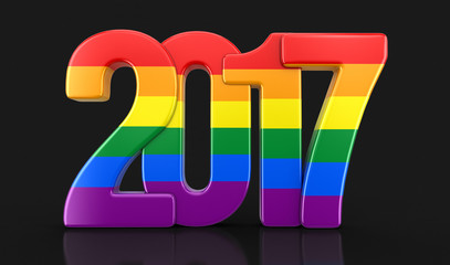 Gay Pride Color  New Year 2017. Image with clipping path.