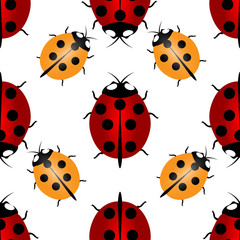 Red and yellow ladybugs with seven and five points on the back - for happiness, seamless pattern. Ladybird endless pattern.
