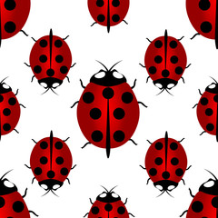 Red ladybird with seven points on the back - for happiness, seamless pattern. Ladybird endless pattern.