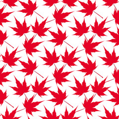 Red maple leaves. Seamless pattern. Canada. Japanese symbolism.  illustration