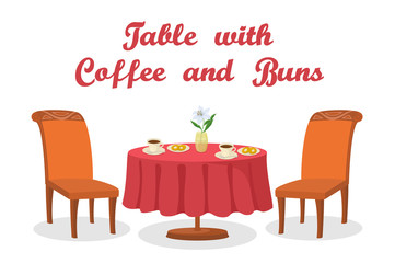 Cartoon Served Table with Coffee, Buns, Flower, Two Chairs, Isolated on White Background. Eps10, Contains Transparencies. Vector