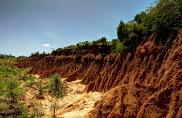 Erosion sand ravine near Kei Afer local market, Ethiopia Wall mural