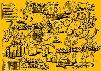 Business Idea doodles icons set. Vector illustration.