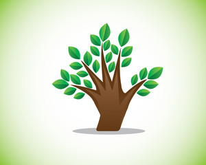 figer tree illustration design,combination of hand and tree